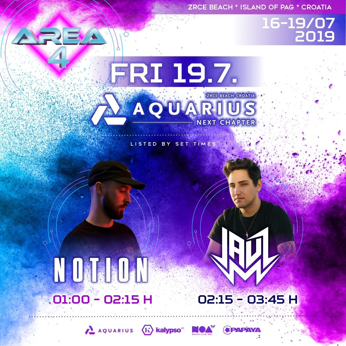 19.07. Notion a Jauz @ Aquarius klub, pláž Zrće