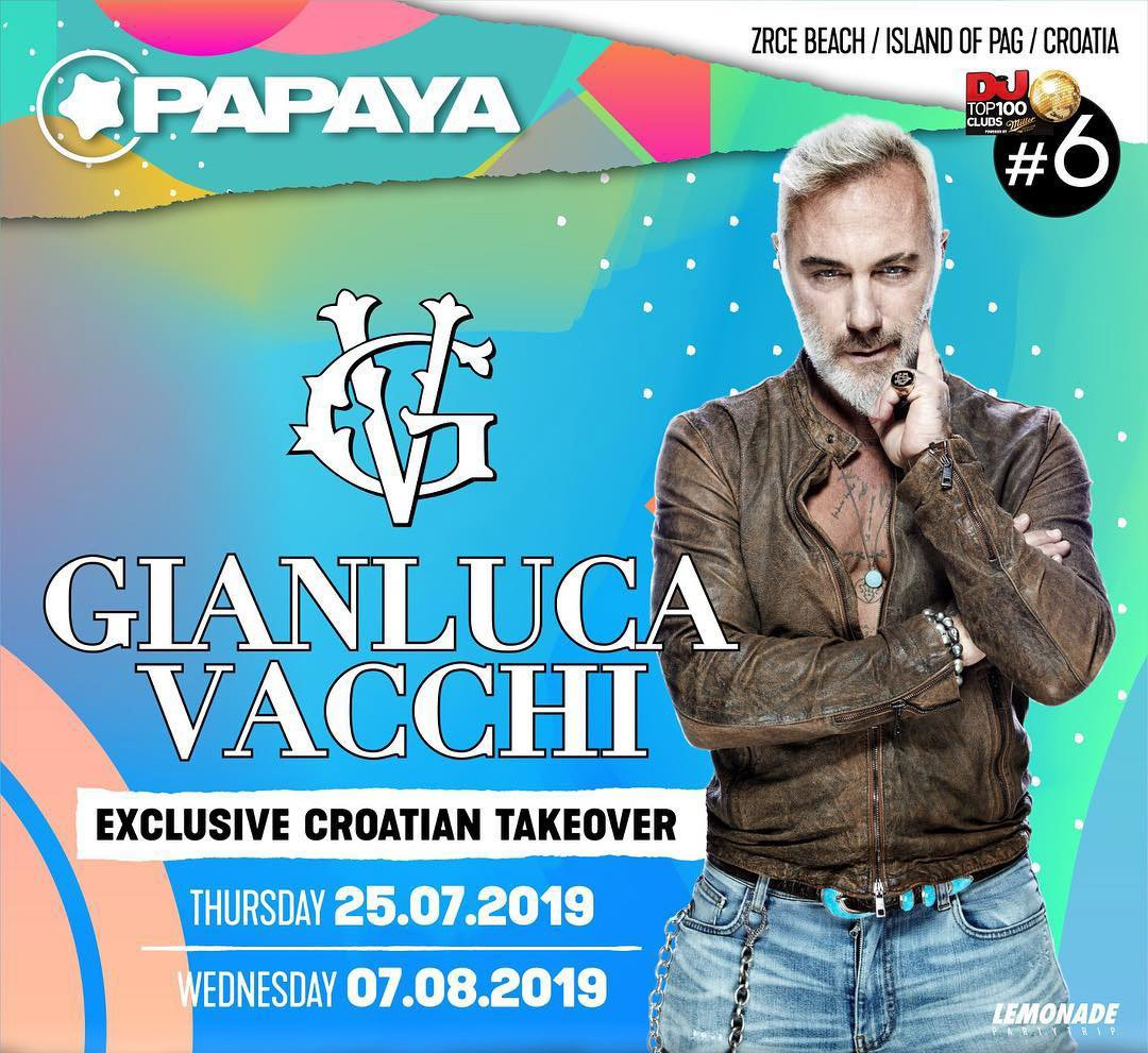 Gianluca Vacchi, Papaya 25.7.2019