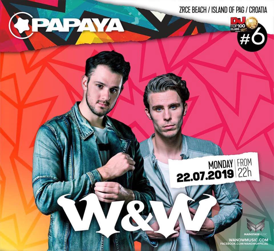 W&W 22 JUL 2019 Papaya club, Zrce beach, Island of Pag