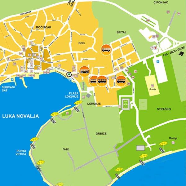 Mapa Novalja Partybussk apartmany